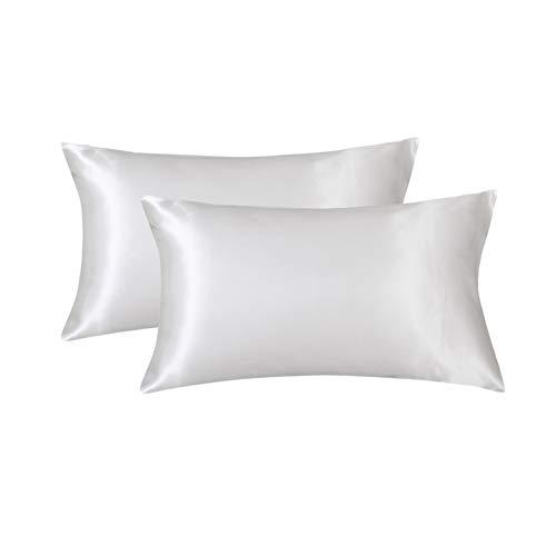 Limo Seiden-Satin-Kissenbezug-Set für Haar- und Gesichtshaut, ohne Reißverschluss, hypoallergen, weich, atmungsaktiv, beidseitig Bedruckt, Seiden-Kissenbezug (Standard 50 x 75 cm, weiß) - Satin-kissenbezug-set