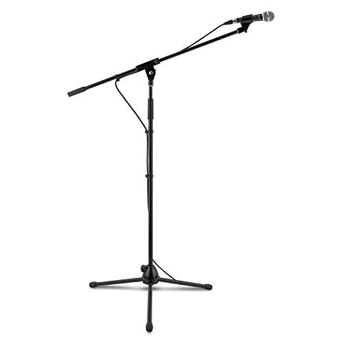 Auna KM 02 Set Microfono Dinamico Con Stativo Asta con Morsetto (Stabile treppiede, Altezza regolabile da 100 a 160 cm, Cavo 5m, Custodia Microfono) Argento