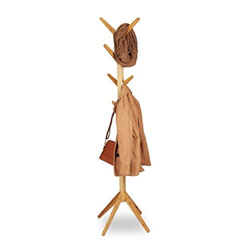 Relaxdays Garderobenständer Bambus, Kleiderständer mit 8 Haken, modernes Tree Design, HxBxT: 179 x 40,5 x 40,5 cm, natur