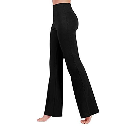 Leggings Donna Pantaloni da Corsa Fitness Sportivi Yoga-Yoga Pants Leggings da Allenamento a Vita Alta con Tummy Fondo a Zampa Svasata Gambe dritte Sportivi Yoga Pantaloni