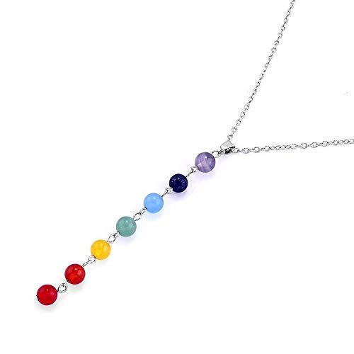 outletissimo® Collar 7Chakra reiki equilibrio 7piedras naturales cristaloterapia mujer ET18