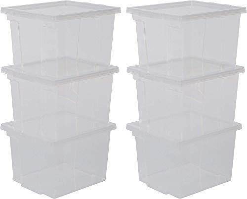 IRIS 130621, 6er-Set Aufbewahrungsboxen / Kisten mit Deckel / Stapelboxen 'Useful Storage Box', USB-S, Kunststoff, transparent, 13 L, 24 x 29 x 18,5 cm