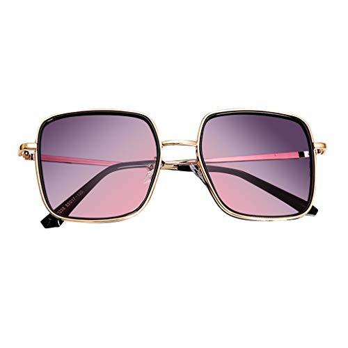 Dicomi Unisex Stilvoll Brille Retro Reflektierende Farbfilm Leichte Übergröße Polarisiert Sonnenbrille Violett
