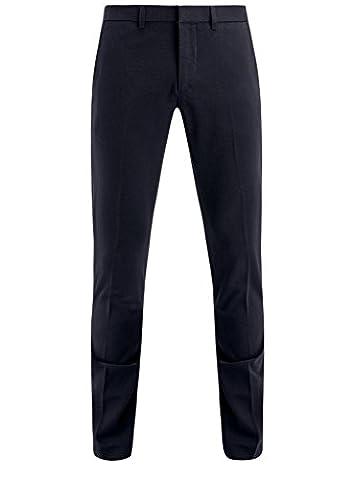 oodji Ultra Herren Baumwoll-Hose Slim Fit, Blau, DE 50 / EU 44 / L