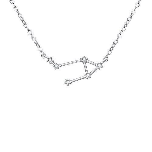 Clearine Halskette Damen 925 Sterling Silber Cubic Zirconia 12 Sternbilder Sternzeichen Horoskop ''Waage'' Anhänger Hals-Schmuck Silber-Ton