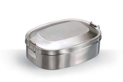 Vesperbox Klappbox Edelstahl Vesperdose Frühstücksbox Brotdose groß (18x14cm)