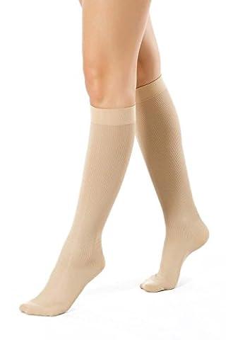 ®BeFit24 Chaussettes de contention graduées aux genoux pour un soutien lors des vols en avion (15-21 mmHg, 140 Denier, Classe 1) pour femmes - Beige