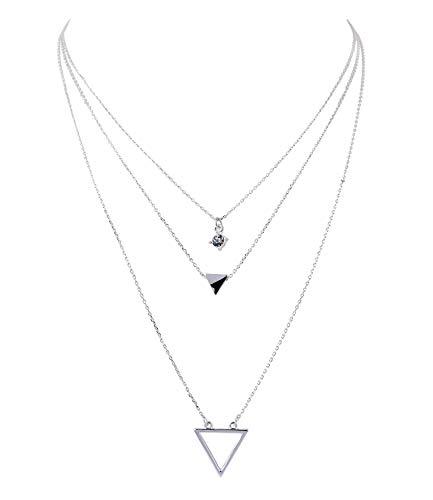 SIX Damen Halskette, Gliederkette, Dreckeck, Strassstein, Layering Look, Silber (779-679) (Kostüm-schmuck-silber-halskette)
