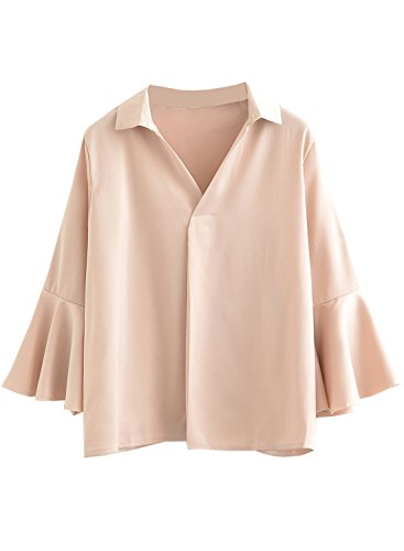 ACHICGIRL Women's Flare Sleeve Solid Pullover Loose Blouse pink