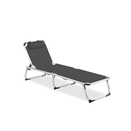 Vanage Gartenliege Helena in grau - Sonnenliege mit Textilbezug und Kissen - Liegestuhl ist klappbar - Gartenmöbel - Strandliege aus Aluminium - Relaxliege für den Garten