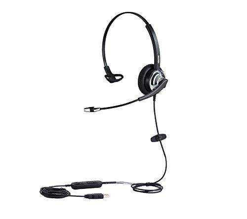USB Headset Monaural Kopfhörer für Call Center Skype Microsoft Lync mit Noise Cancelling Mikrofon Spracherkennung Mic für Dragon with mic mute call button