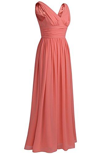 iEFiEL Elegant Damen Kleid festlich Hochzeit Kleider Brautjungfer Lange Abendkleider Chiffon Party Cocktailkleider Koralle