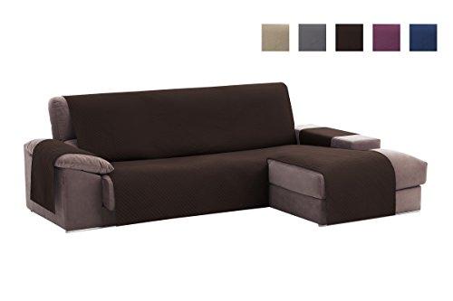 Textilhome - copridivano salvadivano chaise longe adele - color marrone - penisola a destra (vista di fronte) - protezione per divani imbottiti - dimensione 240 cm