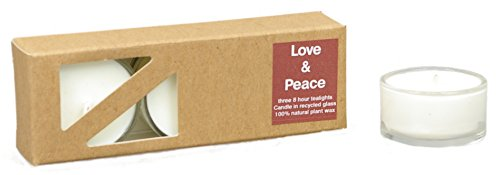 3x Beduftete Natural Love & Peace Made of Plant Wax Tealights in...