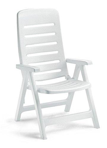 Fauteuil en résine Blanc, fauteuils pliantes d'extérieur, fauteuil en plastique réglable, fauteuil Quintilla