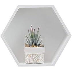 Bois massif étagère murale Creative Maison murale de salle de bain à tête hexagonale de stockage de conteneurs de Organiseur (sans décoration), blanc