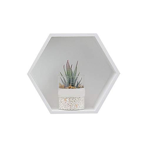 Mensola da parete esagonale in legno massiccio, organizer da parete, design creativo per soggiorno, bagno bianco