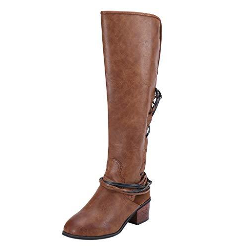Stiefeletten UFODB Damen Schnee Stiefel Hoch Wasserdicht Quaste Gefüttert Regen Frauen Warme Stretch Spitze Faux Dünne Hohe Overknee High Heels Schuhe Damenreitstiefel -