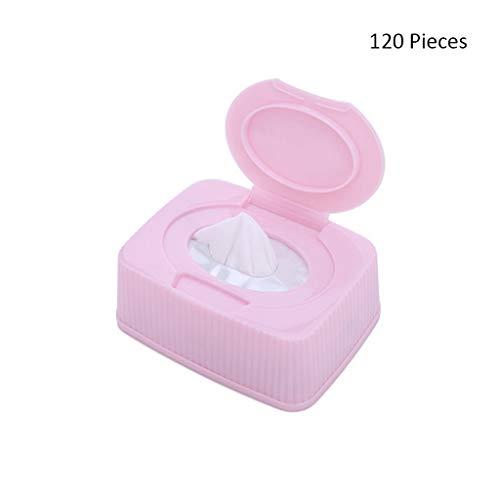 120pcs Coton tampons Coton démaquillant lingettes Visage cosmétique Nettoyage en Profondeur Outil Soins de la Peau Lavage du Visage démaquillant pour Le Visage (Color : Pink, Taille : 120 Pieces)