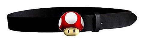 NINTENDO SUPER MARIO Powerup Mushroom Belt (Small, Black/Red) by Nintendo Super Mario