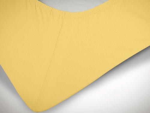 npluseins klassisches Jersey Spannbetttuch - erhältlich in 34 modernen Farben und 6 verschiedenen Größen - 100% Baumwolle, 90-100 x 200 cm, gelb - 6