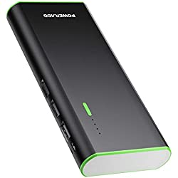 POWERADD Batería Externa Power Bank 10000mAh (3 USB,5V 2A, Más 2.5A, con la Linterna) Carga rápida para iPhone, iPad, Samsung, Xiaomi Móviles Inteligentes y Tabletas -Negro
