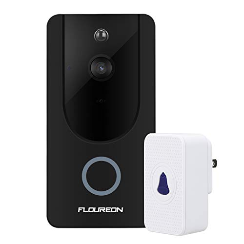 FLOUREON Sonnette Vidéo HD 720P Video Doorbell sans Fils Sonnette de Porte Interphone Détection de Mouvement PIR Vision Nocturne, Vidéo bidirectionnelles
