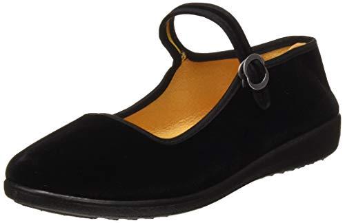 Zapatos Mary Jane de Terciopelo de Las Mujeres Algodón Negro Antigua Pekín Pisos de Tela Ejercicio...