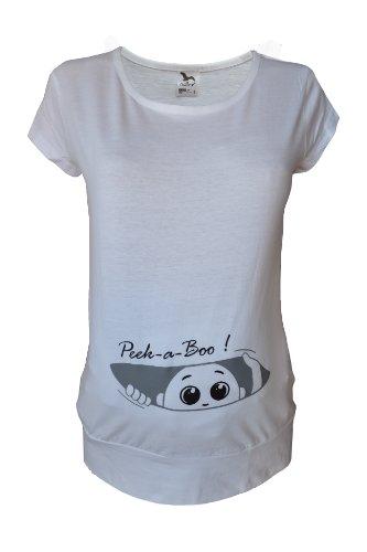 Für die Schwangerschaft, Größe 36-46, Baumwolle, Top Print Peek a boo Tunika Shirt, Weiß, Schwarz, Blau, Türkis, Grün (Print Tunika Schwarze)