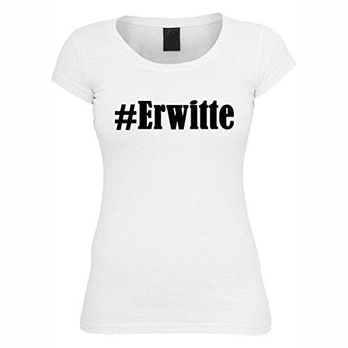 T-Shirt #Erwitte Hashtag Raute für Damen Herren und Kinder ... in den Farben Schwarz und Weiss Weiß