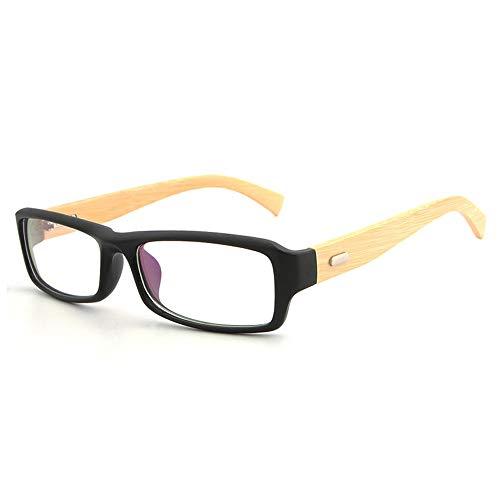 Natural Bamboo Wood Mirror Legs Schwarzer Rahmen Kleine quadratische Flache Brille Normale Brille Brille (Color : 02 schwarz, Size : Kostenlos)