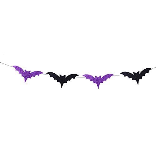 Tinksky Glitzernde Fledermaus Hängende Dekorationen Fledermaus Bunting Banner Girlande Halloween Party Requisiten Home Party Dekoration 3.5M (Fledermaus-wand-hängen)