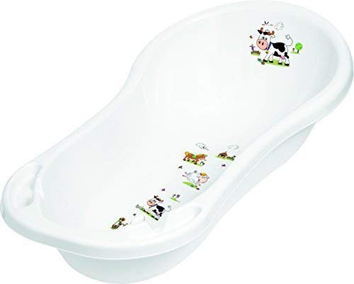Baby Bath Tub XXL 100 cm with Plugs Funny Farm White Baby Bath Tub Tub