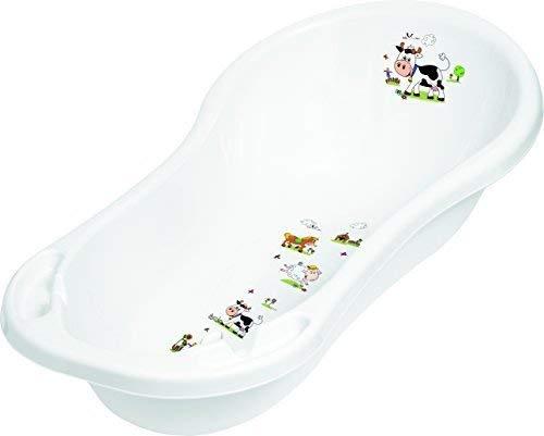 Baby Bath Tub XXL 100 cm with Plugs Funny Farm White Baby Bath Tub Tub