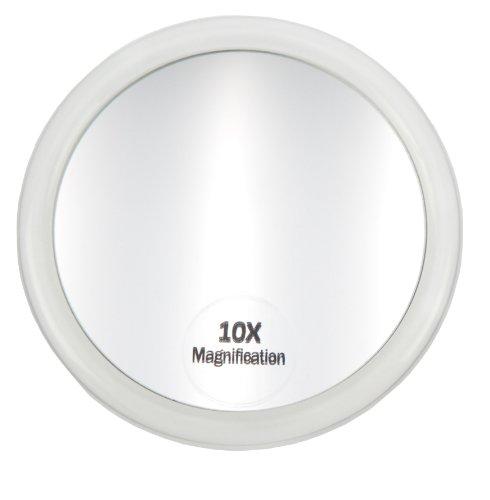 Fantasia Miroir Cosmétique Grossissant, Grossissement 10x, Acrylique Transparent avec Ventouses, Ø Interne 8 cm