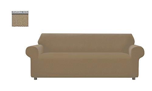 Copridivano genius tinta unita, per divano 3 posti, colore tortora 1019