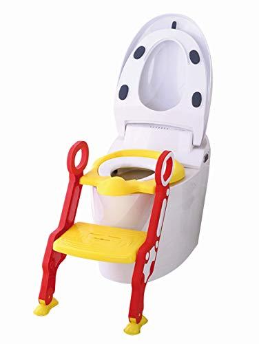 Toiletten Coach | Toilettentrainer mit Treppe | Töpfchentrainer | Kinder Töpfchen | Kinder-Toilettensitz mit Leiter höhenverstellbar | Töpfchen Sitz für Toiletten 38-42cm, Design:rot/gelb