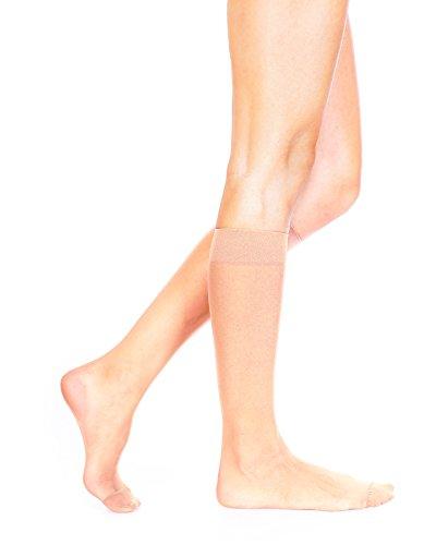 Sophie 20Denier Sheer Knee High Pop Socken–4Paar Pack Gr. One size, Sahara Beige (Nylon-sheer Knee Socken High)