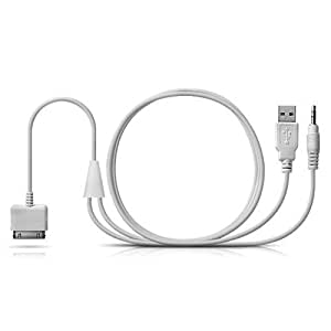 White, 1.2m iPhone 3.5mm Audio and USB Dock Cable, AUX, Charge and play In-car music through Car Stereo at the same time, Use at home, portable, or car stereo to listen to high quality line-out audio, USB 3.5mm In-Car AUX Audio/Charger Cable For Apple iPod / iPhone 2G, 3G, 3GS, 4G / iPad 1 / iPad 2 (part of the product mania range)