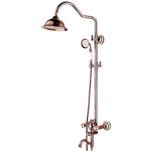 Duschsystem Messing Mittellage Keramisches Ventil Bath Shower Mixer Taps Single Griffe DREI Löcher, Gold Rose