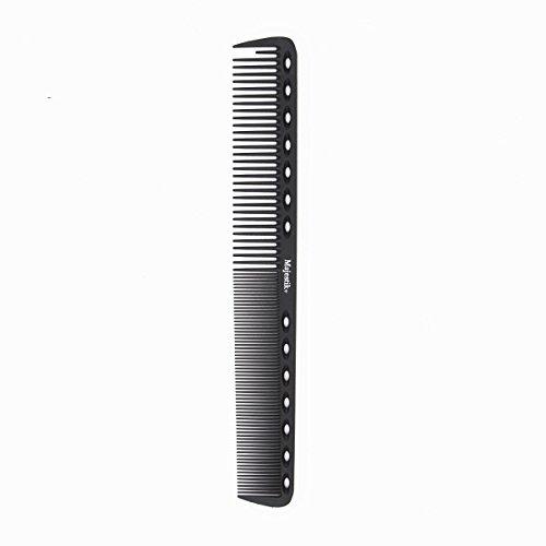 Frisierkamm 230 ° C hitzebeständig Schneidekamm, Master Barberkamm, 14 Löcher dienen als Messgerät, Frizz off, robust und langlebig, mittlere und feine Zahnung, Schwarz