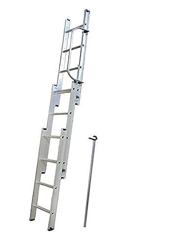 DJM 3 Section Aluminium Loft Ladder & Handrail by DJM Direct (Folding Attic Leiter)