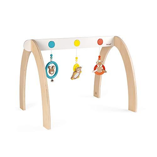 Janod- Portique d'activités Baby Pop (Bois et Silicone), J04604, Multicolore