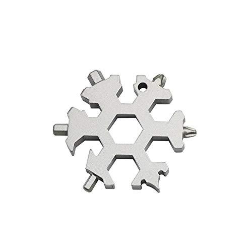 Xiangpian183 19-in-1Edelstahl-Multifunktions-Schraubendreher, tragbarer Schneeflocken-Schlüsselanhänger, Schraubendreher, Flaschenöffner, Werkzeug Silber (19-zoll-hals)