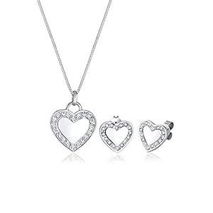 Elli Damen-Schmuckset Halskette + Ohrringe Herz 925 Silber Swarovski Kristalle weiß Brillantschliff