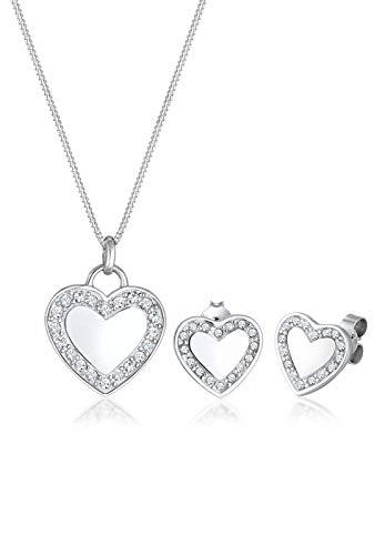 Elli Damen-Schmuckset Halskette + Ohrringe Herz 925 Silber Swarovski Kristalle Brillantschliff - 0902630917_45 - 45cm Länge