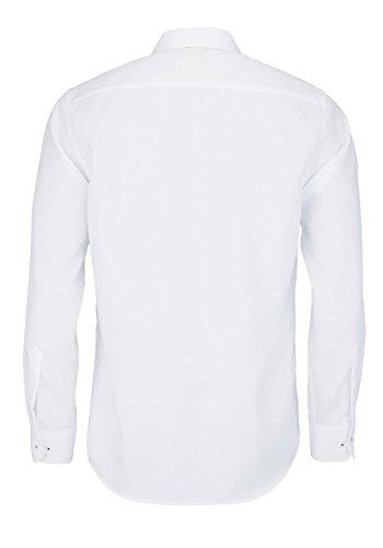 ETERNA Langarm Hemd MODERN FIT Fantasiebindung strukturiert Weiß