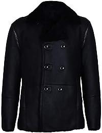 Infinity Leather Cappotto in Pelle di Montone in Doppiopetto Nero Tedesco  Uomo 042a2dcda35
