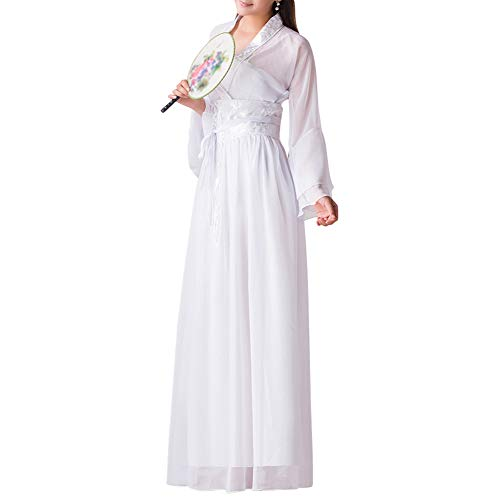 Huatime Damen Chinesischen Stil Kostüm - Retro Hanfu Elegant Traditionell Prinzessin Aufführungen Kostüm Fee Mädchen Tanz Chiffon Anzug Cosplay Kleid