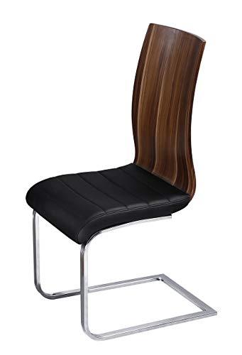 Lessona Stuhl mit Sitzpolster, Chrom/Schwarz, 2 Stück -